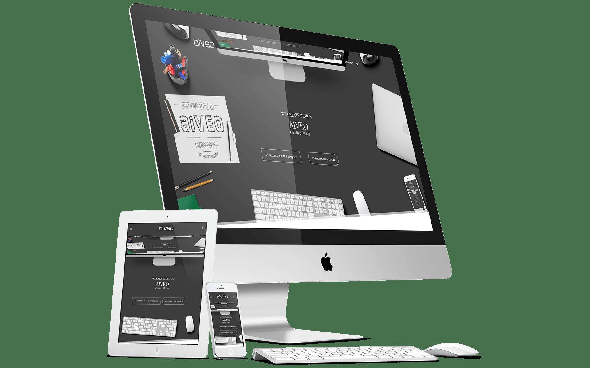 Hier seht ihr eine Responsive Webdesign Darstellung von der Werbeagentur-Aiveo