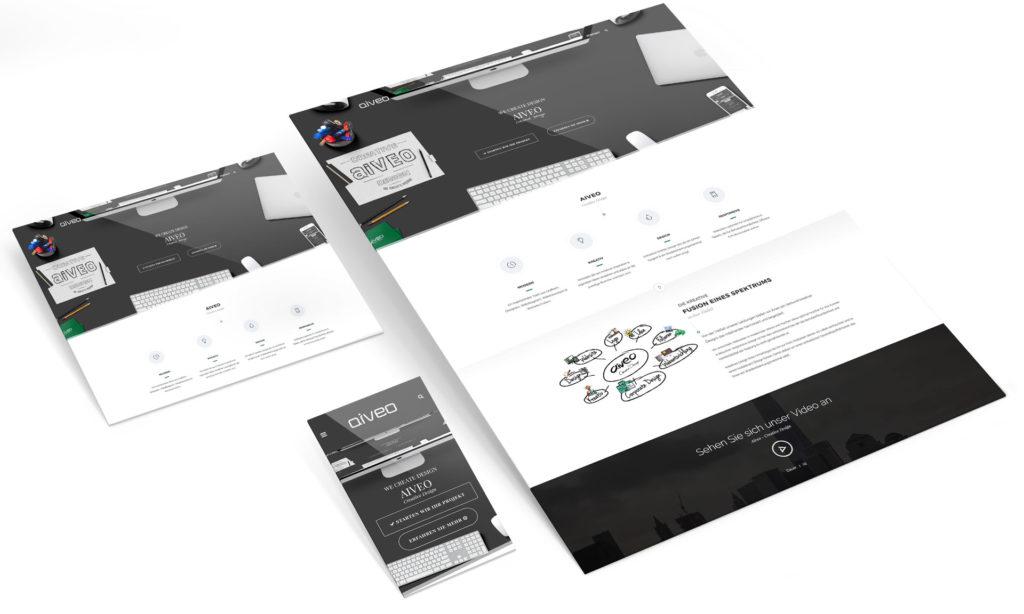 Hier seht ihr eine Responsive Webdesign Darstellung in Responsive Ansichten von der Werbeagentur Aiveo