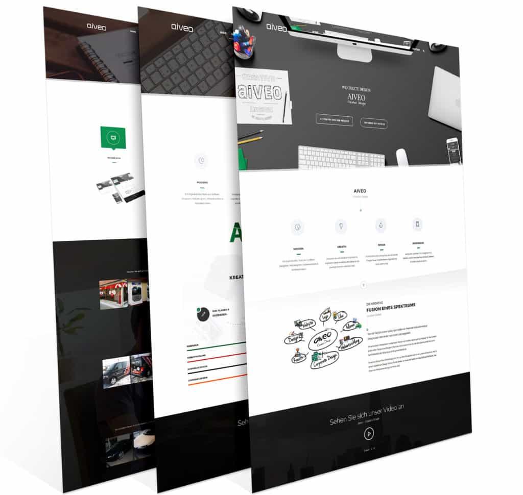 Hier seht ihr eine Responsive Webdesign Darstellung in drei Ansichten von der Werbeagentur Aiveo