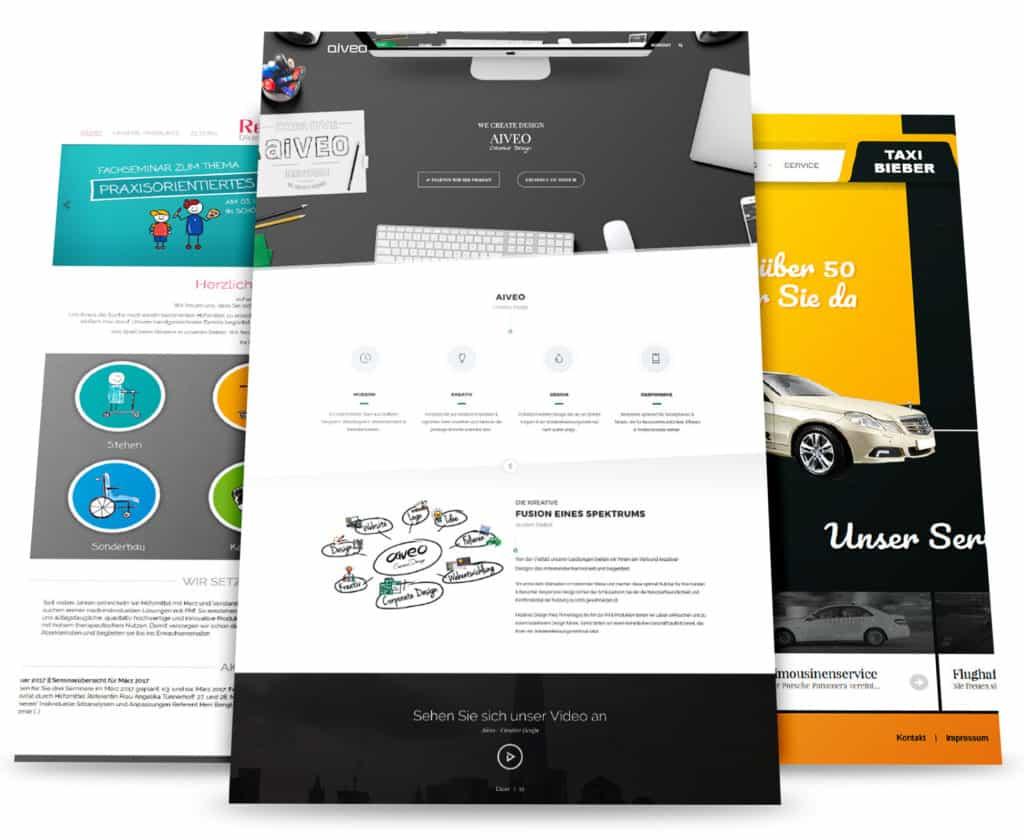 Hier seht ihr eine Responsive Webdesign Darstellung in mehreren Ansichten von der Werbeagentur Aiveo