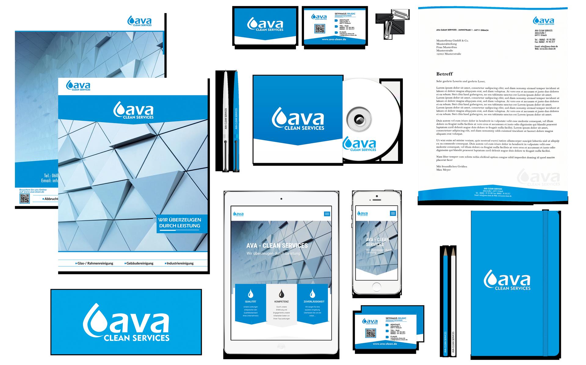 Hier ein Corporate Design von Ava Clean erstellt von der Werbeagentur-Aiveo-www.aiveo.de