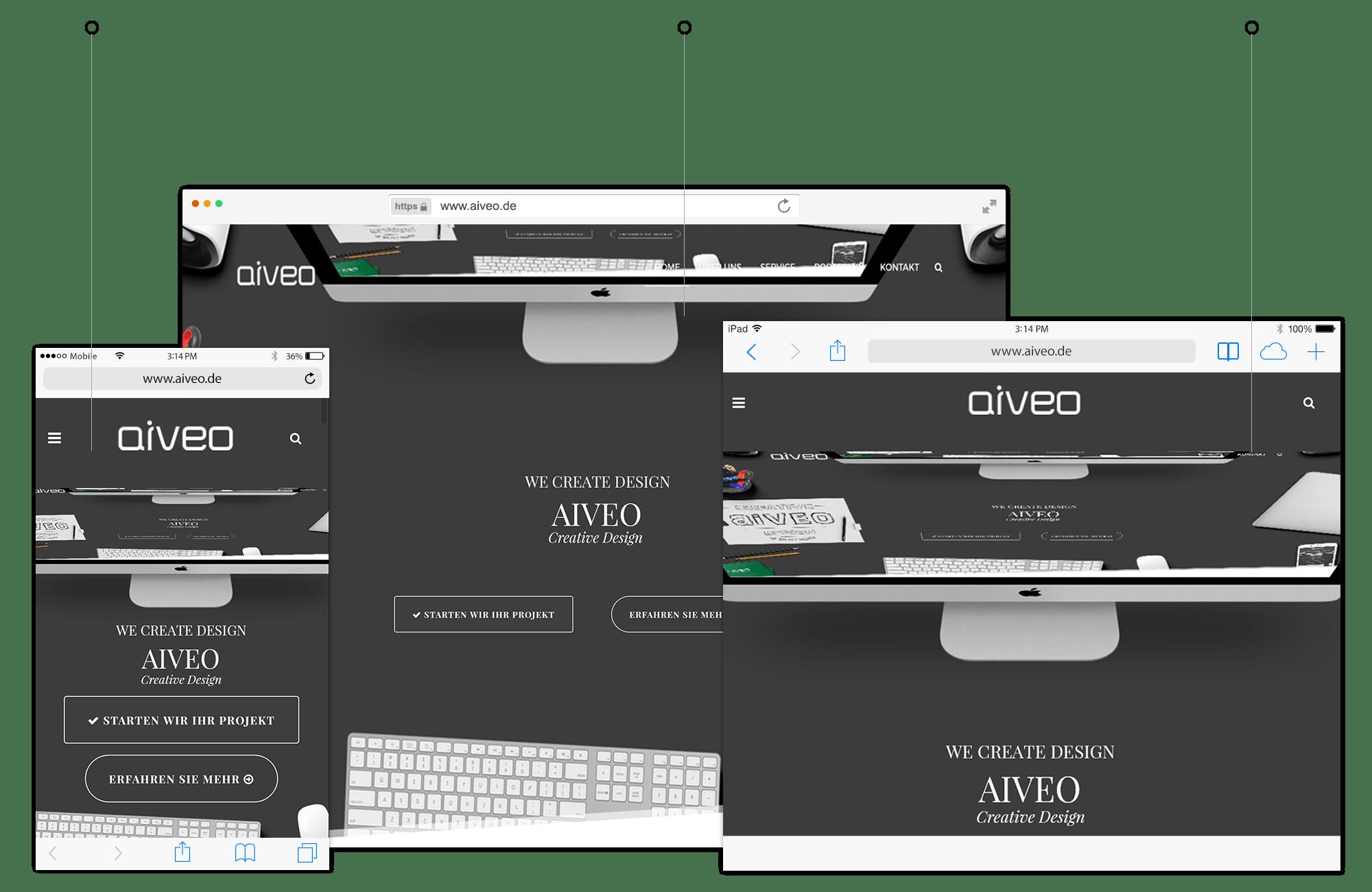 Hier seht ihr eine Responsive Webdesign Darstellung in Browseransicht von der Werbeagentur-Aiveo