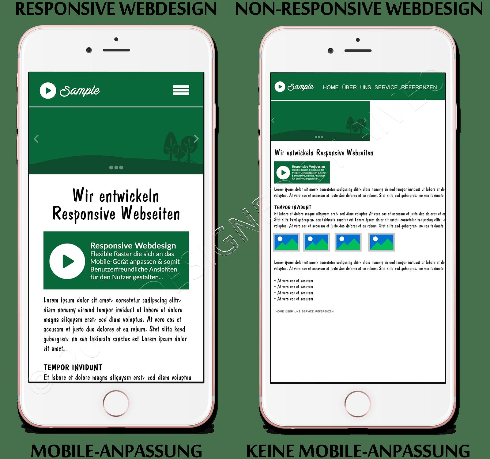 Hier seht ihr eine Responsive Webdesign-Nicht Responsive Vergleich von der Werbeagentur-Aiveo
